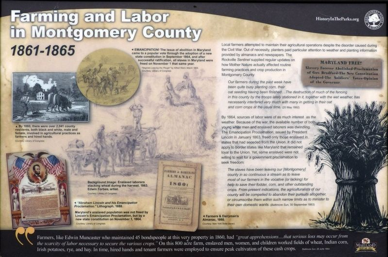 Farming and Labor in Montgomery County Marker image. Click for full size.