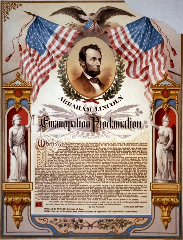"""Abraham Lincoln and his Emancipation Proclamation."" Lithograph 1888. image. Click for full size."