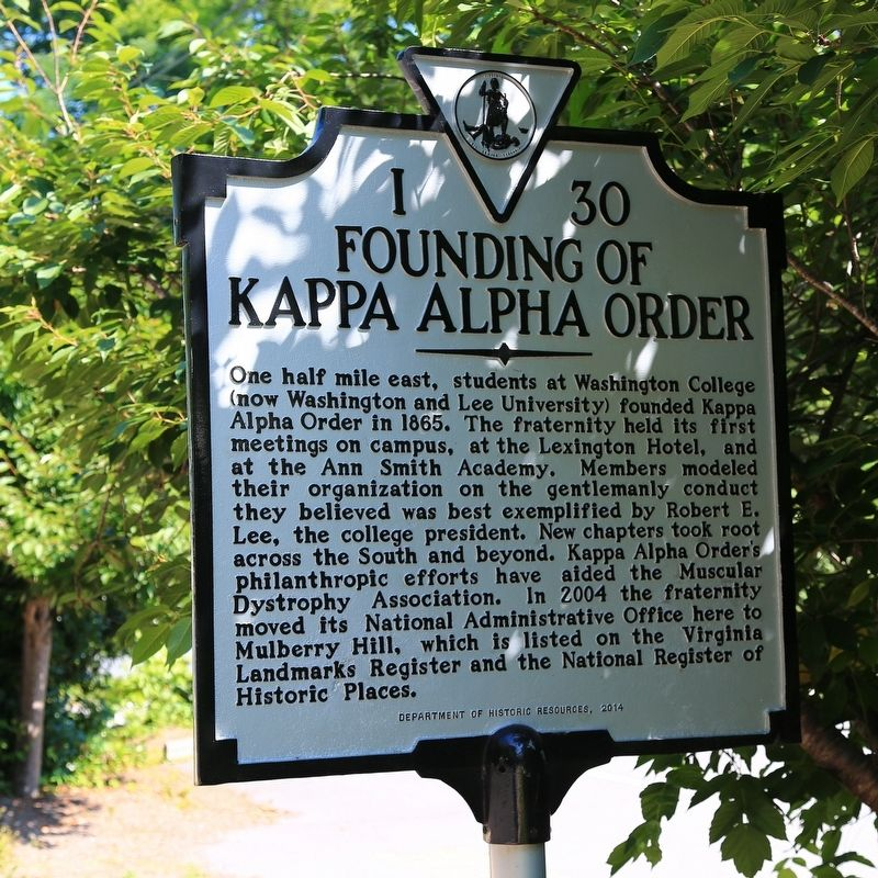 Founding of Kappa Alpha Order Marker image. Click for full size.