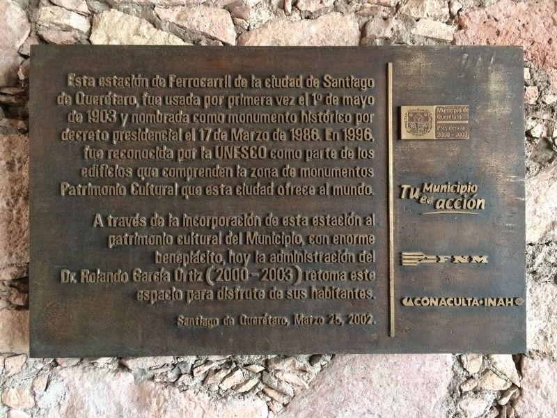 The Querétaro Railroad Station Marker image. Click for full size.