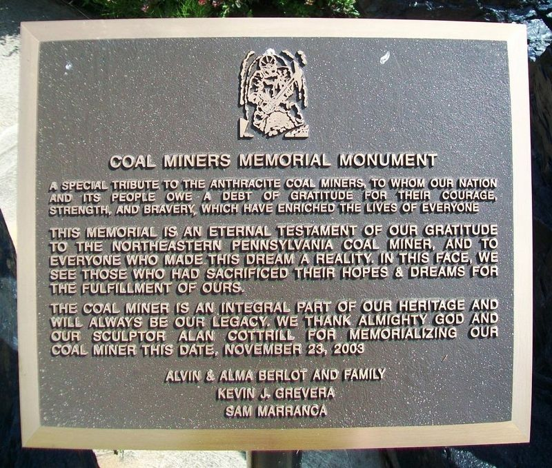 Coal Miners Memorial Monument Marker image. Click for full size.