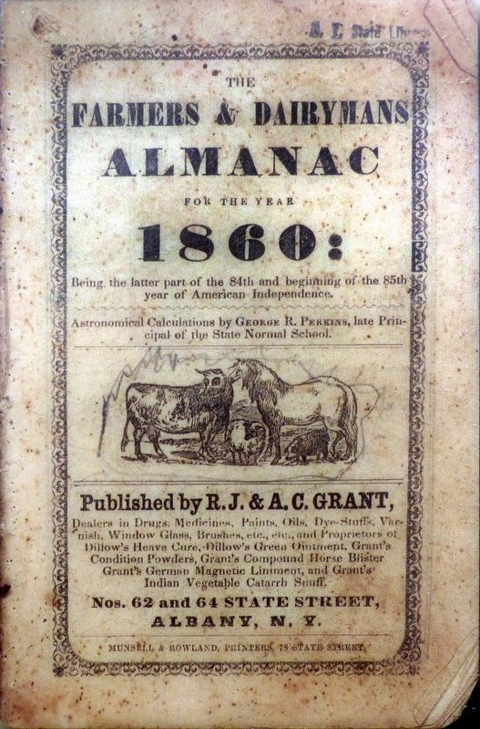 Farmers and Dairyman's Almanac - 1860 image. Click for full size.