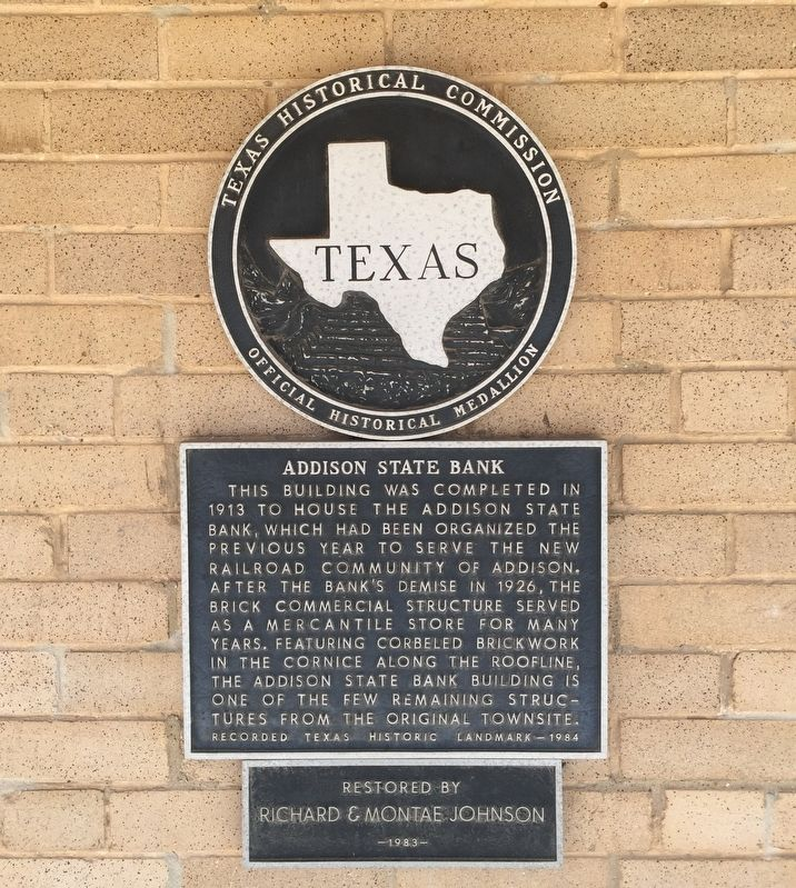 Addison State Bank Texas Historical Marker image. Click for full size.
