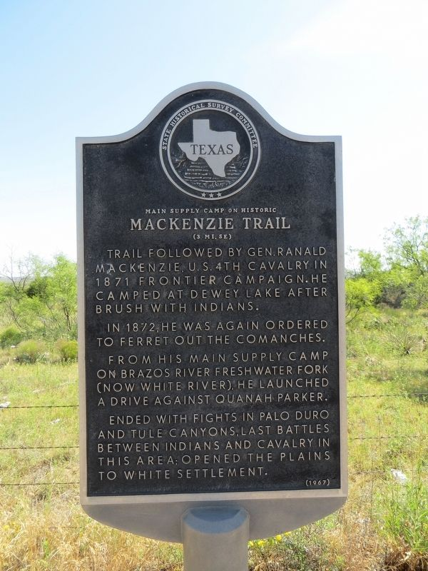 Main Supply Camp on Historic Mackenzie Trail Marker image. Click for full size.