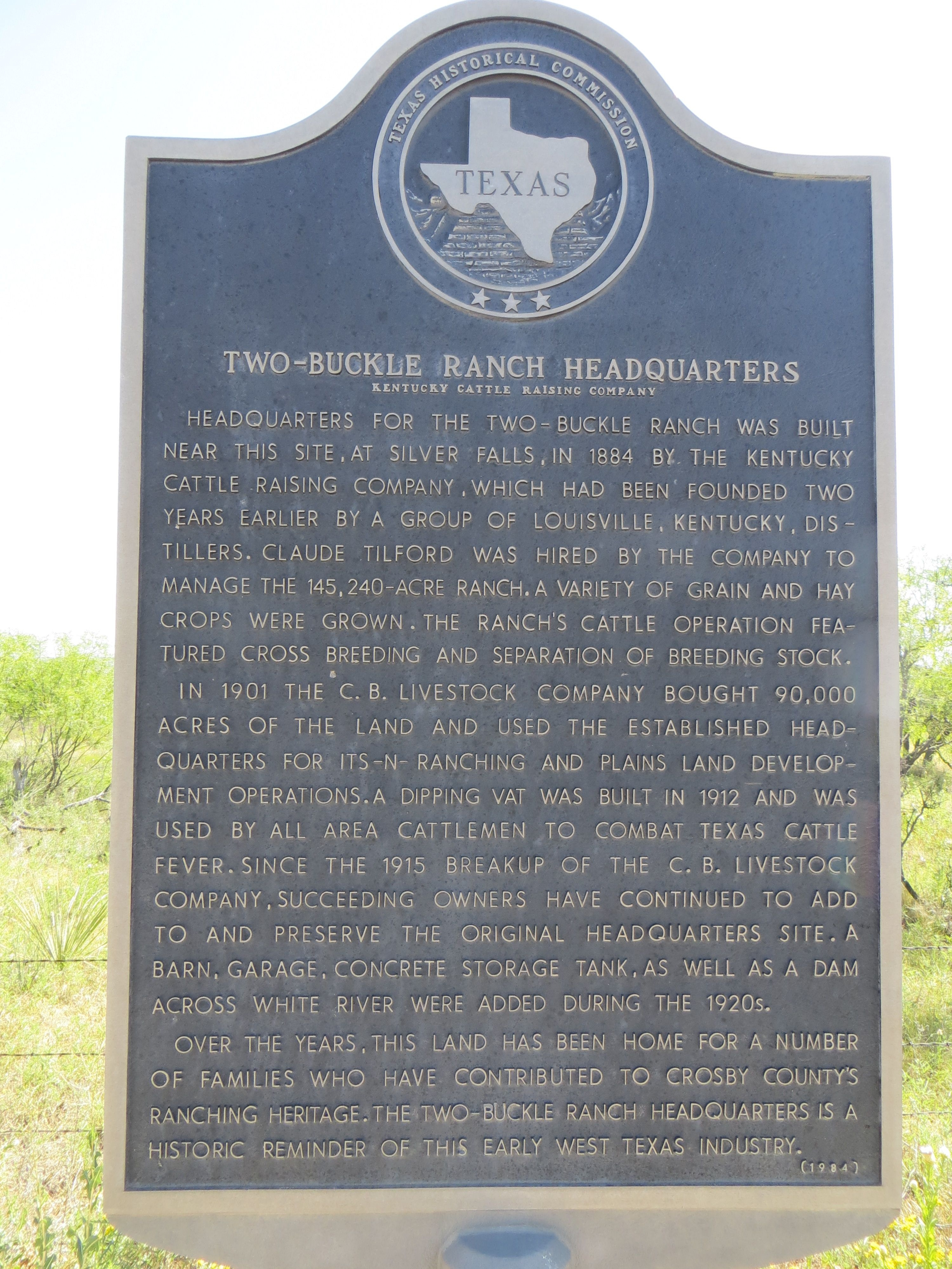 Two-Buckle Ranch Headquarters Marker