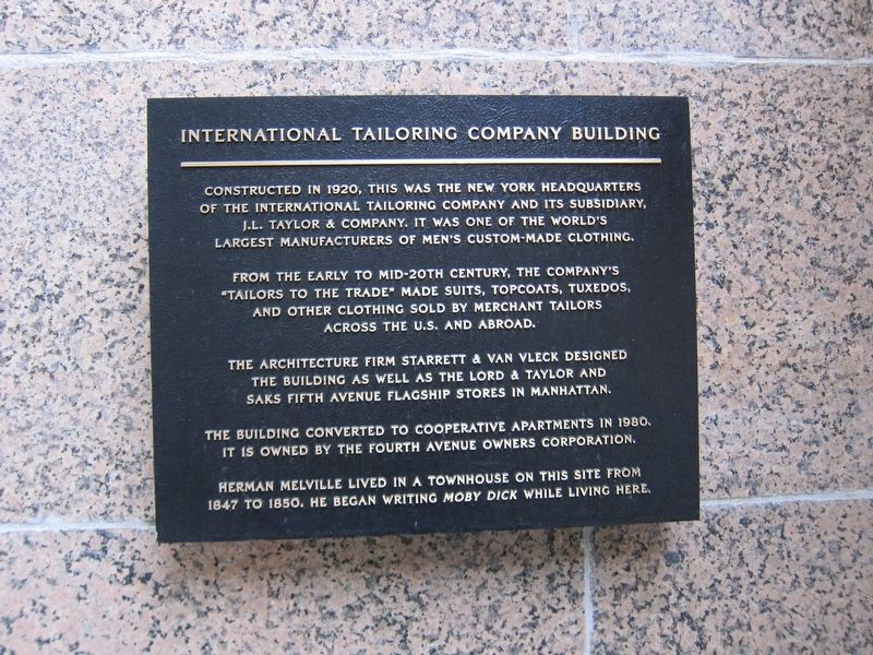 International Tailoring Company Building Marker image. Click for full size.