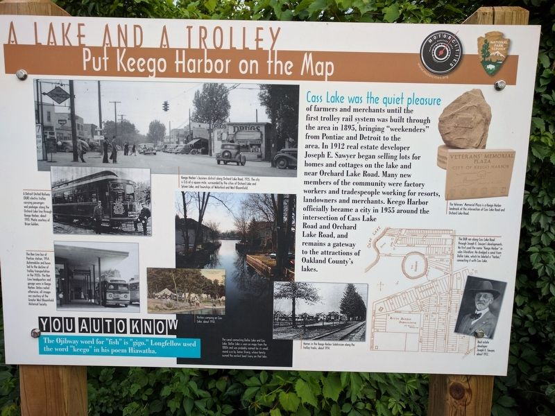 A Lake and a Trolley Marker image. Click for full size.
