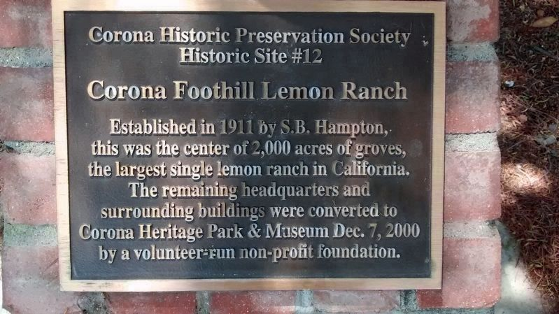 Corona Historic Preservation Society Historic Site #12 Marker image. Click for full size.