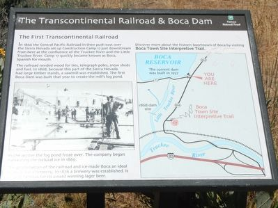 The Transcontinental Railroad and Boca Dam Marker image. Click for full size.