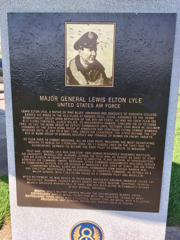 Nearby memorial about Major General Lewis E. Lyle. image. Click for full size.