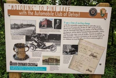 """Motoring"" to Pine Lake Marker image. Click for full size."
