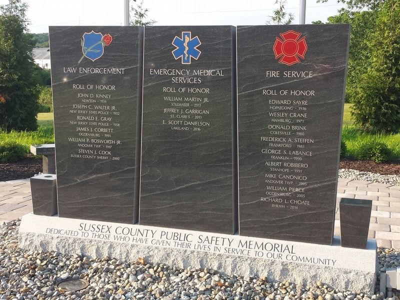 Sussex County Public Safety Memorial image. Click for full size.