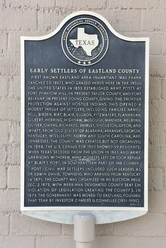 Early Settlers of Eastland County Marker image. Click for full size.