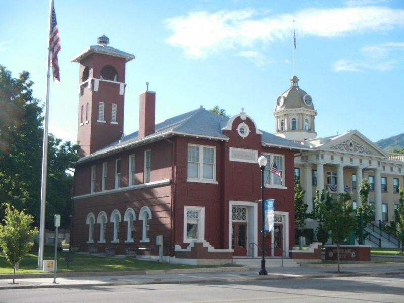 Former Brigham City Fire Station/City Hall and Marker image. Click for full size.