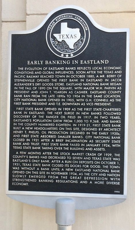 Early Banking in Eastland Marker image. Click for full size.