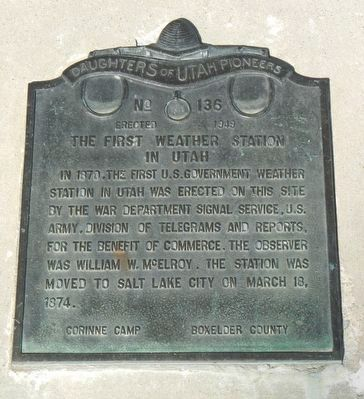 The First Weather Station in Utah Marker image. Click for full size.