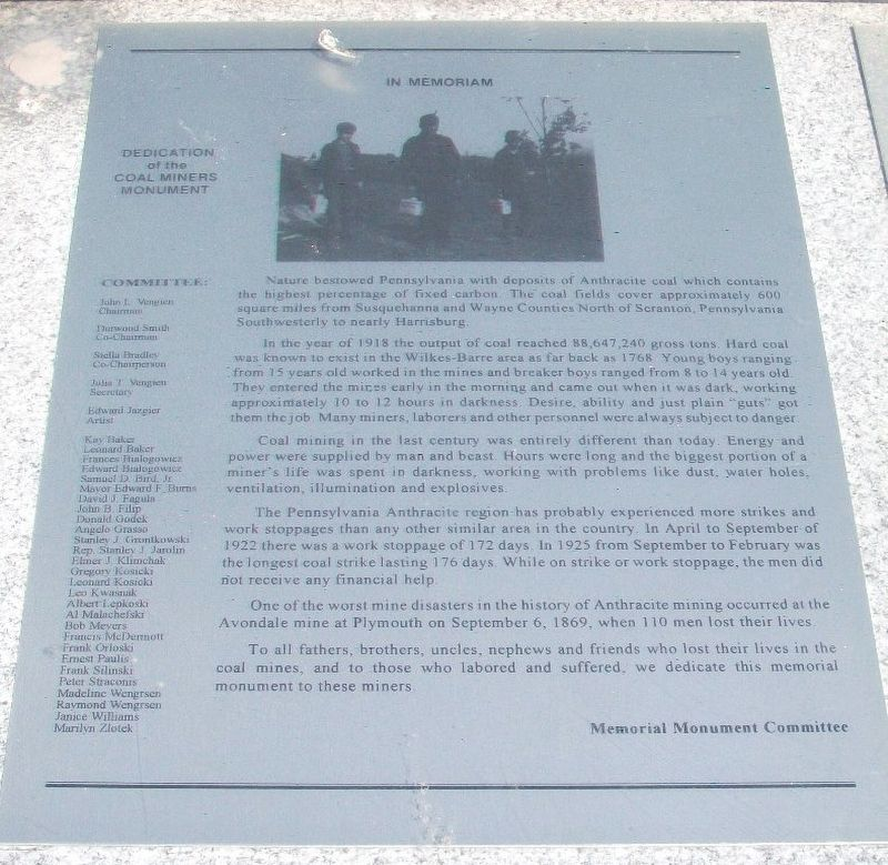 Coal Miners Memorial Dedication Marker image. Click for full size.