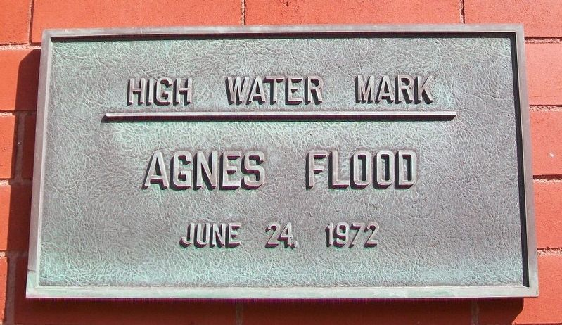 Agnes Flood High Water Mark Marker image. Click for full size.