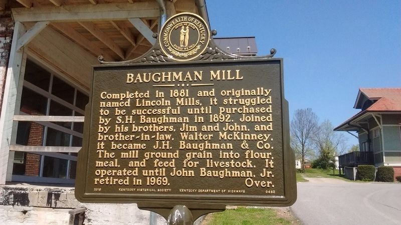 Baughman Mill Marker (Side 1) image. Click for full size.