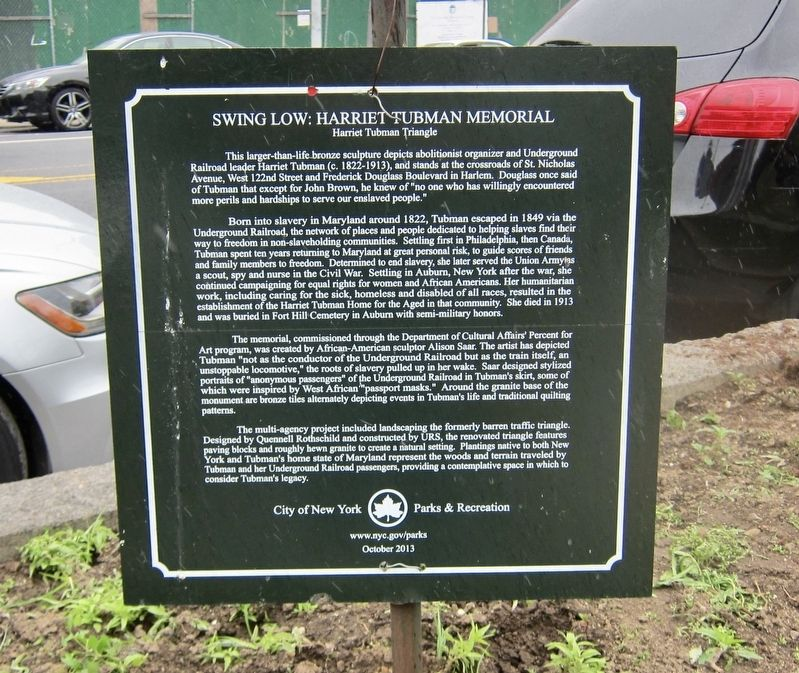 Swing Low: Harriet Tubman Memorial Marker image. Click for full size.