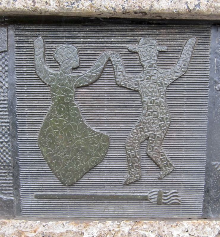 "Swing Low: Harriet Tubman Memorial - Decorative Quilt Detail: ""Jumping the Broom"" image. Click for full size."