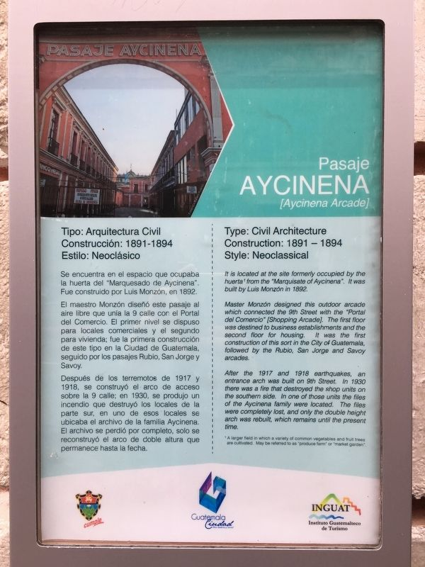 The Aycinena Arcade Marker image. Click for full size.