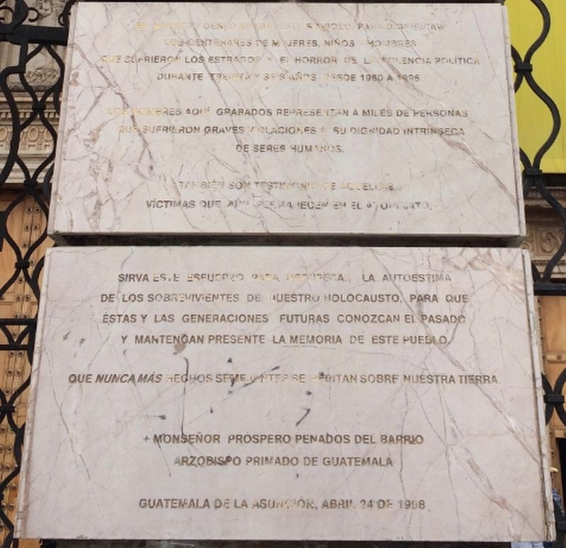 Memorial to the Victims of Guatemala's Armed Conflict Marker image. Click for full size.