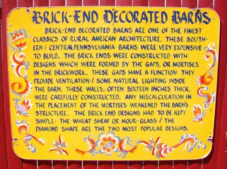 Brick-End Decorated Barns Marker image. Click for full size.