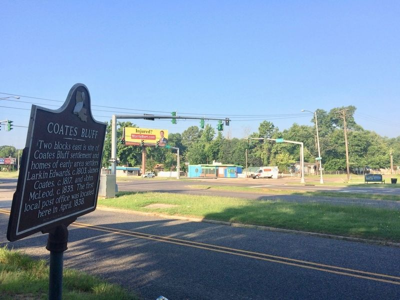 View of marker towards intersection of Olive Street and Youree Drive. image. Click for full size.