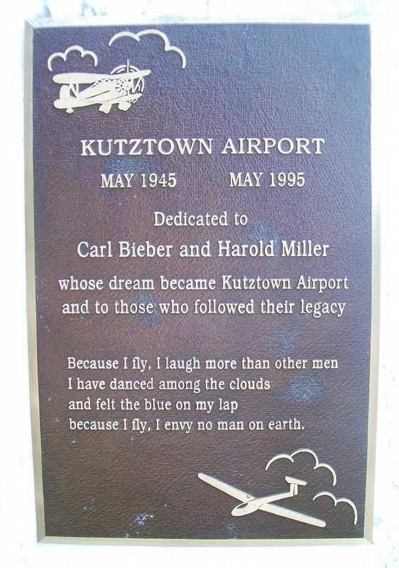 Kutztown Airport Marker image. Click for full size.
