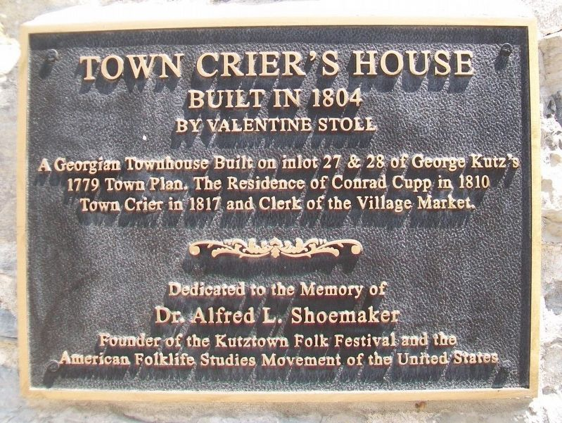 Town Crier's House Marker image. Click for full size.