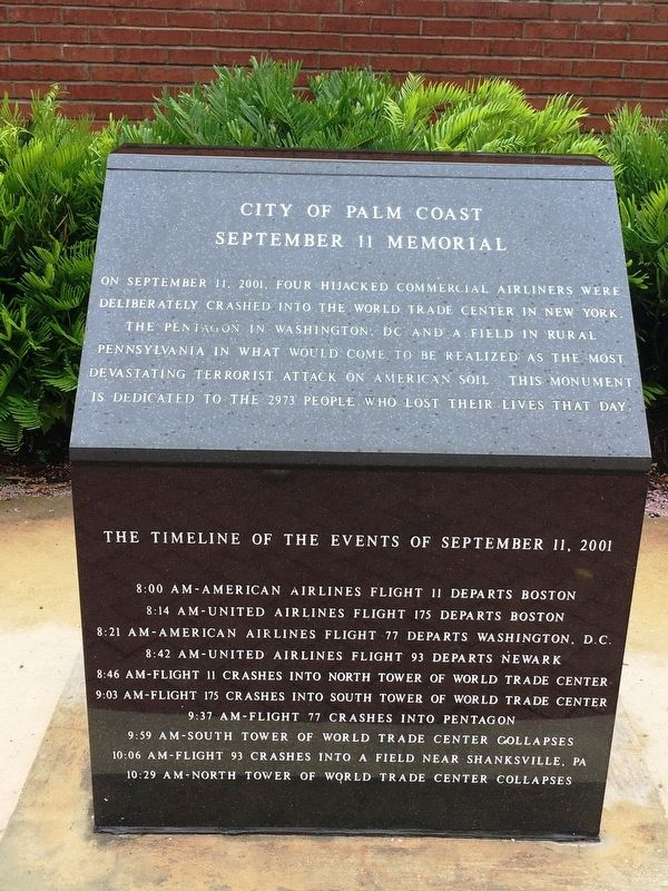 City of Palm Coast September 11 Memorial Marker image. Click for full size.