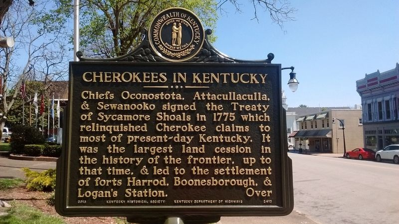 Cherokees in Kentucky Marker (Side 1) image. Click for full size.