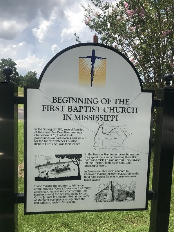 Beginning of the First Baptist Church in Mississippi Marker image. Click for full size.