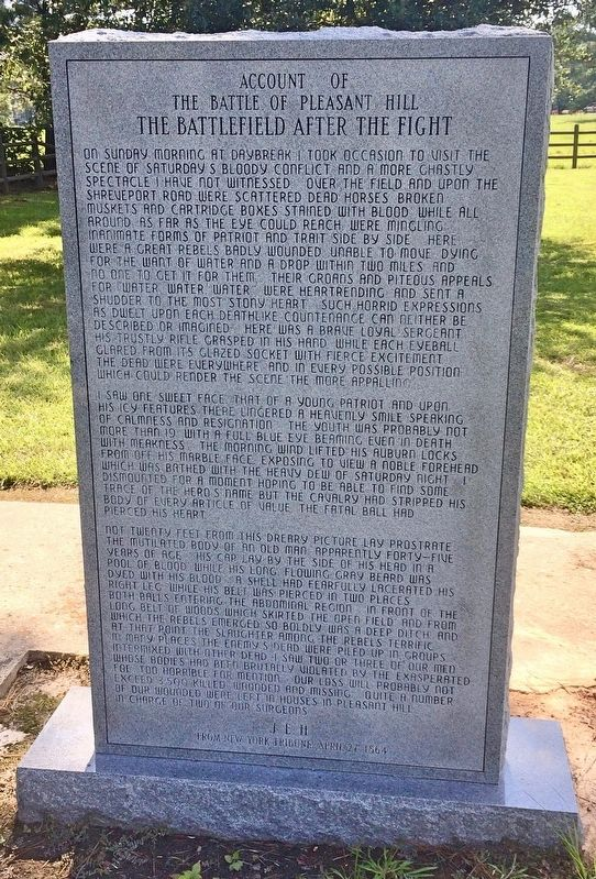 Account of the Battle of Pleasant Hill Marker (front) image. Click for full size.
