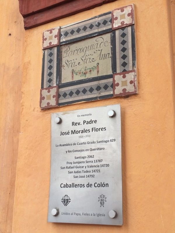 An additional marker on the facade of the Church of Santa Ana image. Click for full size.