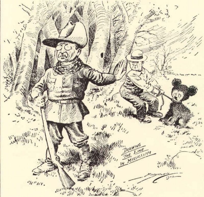 Clifford Berryman's 1902 political cartoon in the Washington Post spawned the Teddy bear. image. Click for full size.