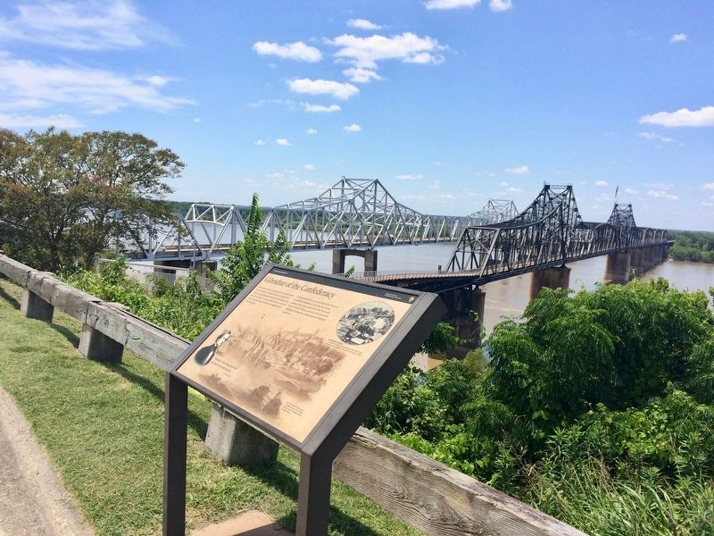 Marker with the Old Vicksburg Bridge (right) and the I-20 bridge over the Mississippi bridge. image. Click for full size.