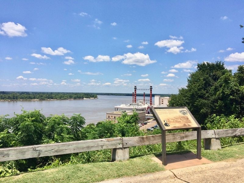 View upriver on the Mississippi and a casino below. image. Click for full size.