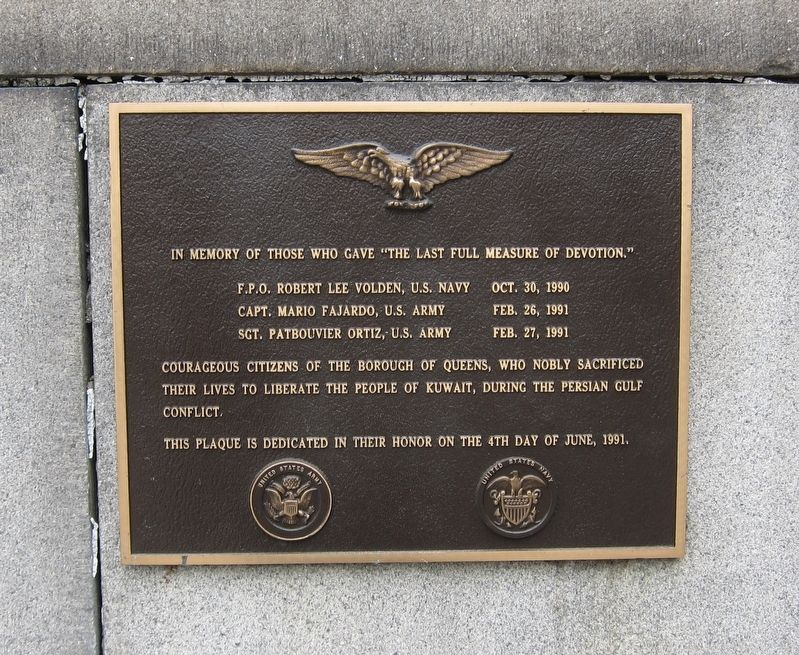 Queens Borough Hall Persian Gulf War Memorial Marker image. Click for full size.