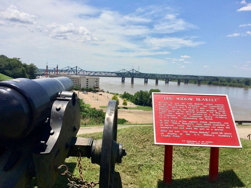 View of cannon pointed downriver on the Mississippi at Louisiana Circle. image. Click for full size.
