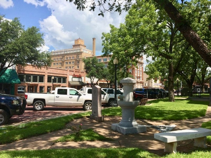 View of marker northwest towards the old Lyric Theater. image. Click for full size.