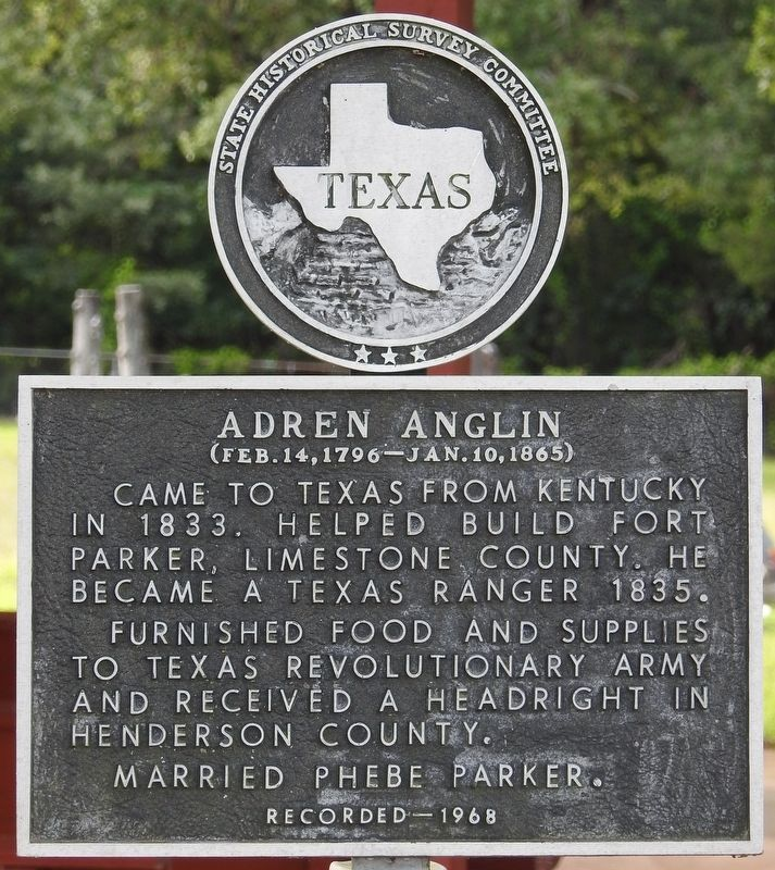 Adren Anglin Texas Historical Marker image. Click for full size.