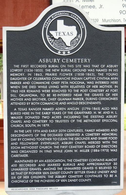 Asbury Cemetery Texas Historical Marker image. Click for full size.