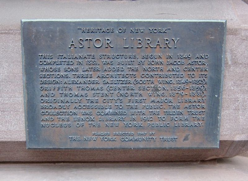 Astor Library Marker image. Click for full size.