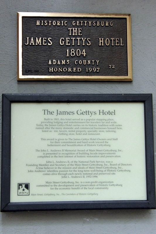 The James Gettys Hotel Marker image. Click for full size.