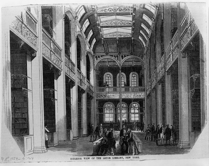 <i>Interior view of the Astor Library, New York</i> image. Click for full size.