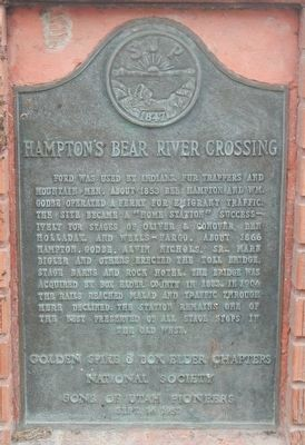 Hampton's Bear River Crossing Marker image. Click for full size.