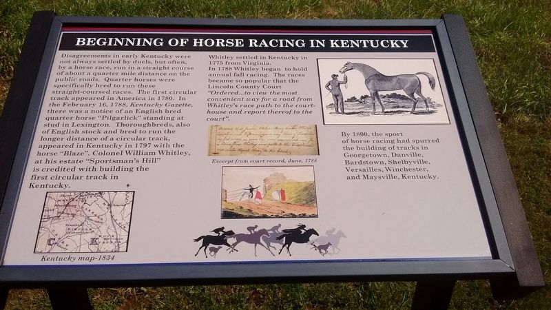 Beginning of Horse Racing in Kentucky Marker image. Click for full size.