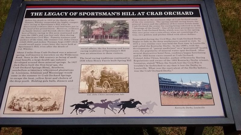 The Legacy of Sportman's Hill at Crab Orchard Marker image. Click for full size.